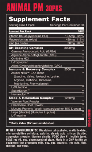 Universal Nutrition PM facts